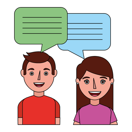 woman and man with dialog speech bubbles vector illustration 版權商用圖片 - 100996768