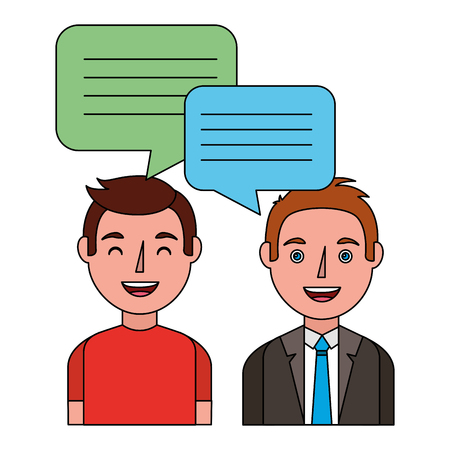 two men with dialog speech bubbles vector illustration