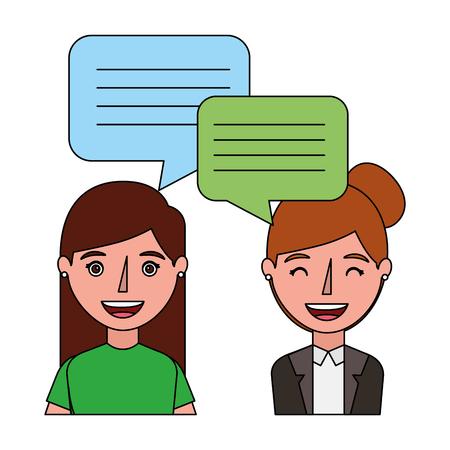 women with dialog speech bubbles vector illustration