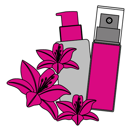 cosmetic makeup products set flowers vector illustration