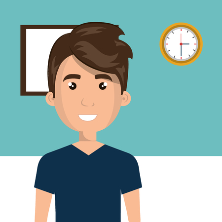 Young man in the classroom character scene vector illustration design Vectores