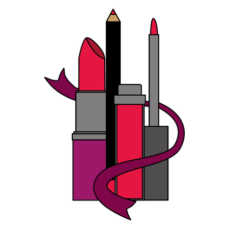 makeup eyeliner mascara and lipstick vector illustration Vectores