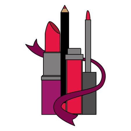 makeup eyeliner mascara and lipstick vector illustration Illustration