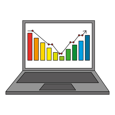 statistic bar graph business screen computer vector illustration