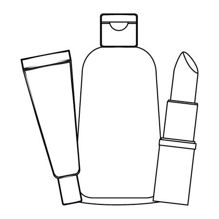 bottles of creams with lip female make up vector illustration design