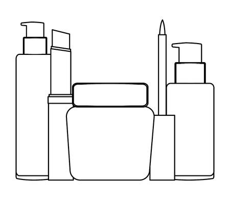 bottles of cream and accessories female make up vector illustration design 일러스트