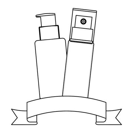 bottle of splash and bottle of cream with ribbon female make up vector illustration design