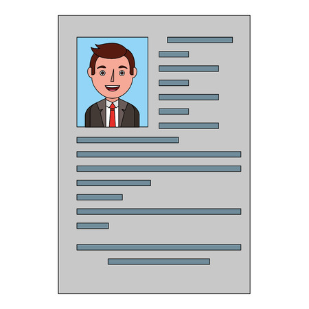 male resume document employment occupation vector illustration