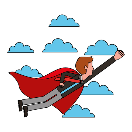 superhero businessman flying with cape successful vector illustration Ilustração