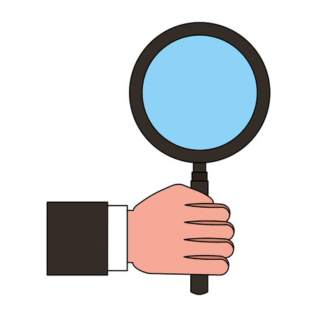 hand holding magnifying glass finding vector illustration