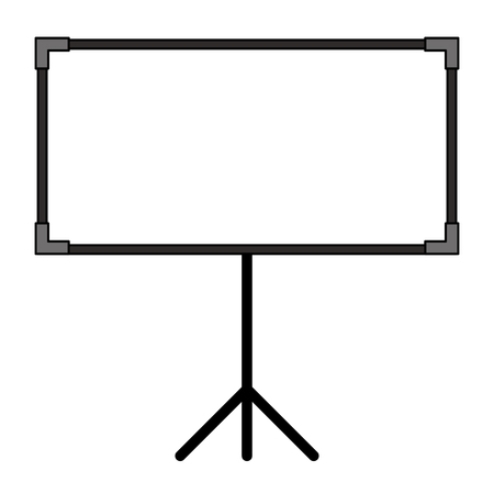 blank projector screen with tripod vector illustration
