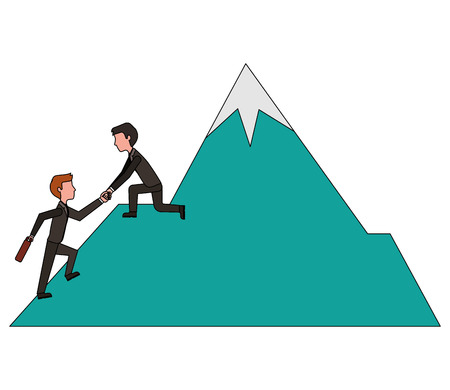 business man on mountain helping colleague or friend climbing leadership teamwork vector illustration