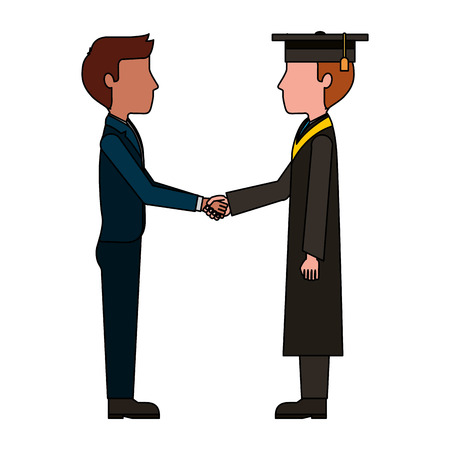 teacher man and graduate student handshake vector illustration  イラスト・ベクター素材