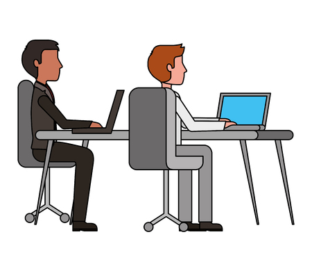 two man working in workplace desk and computer vector illustration