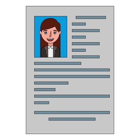 female resume document employment occupation vector illustration