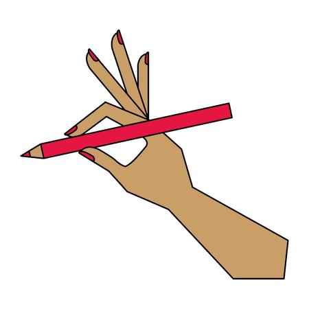 female hand holding eyeliner makeup vector illustration Ilustração