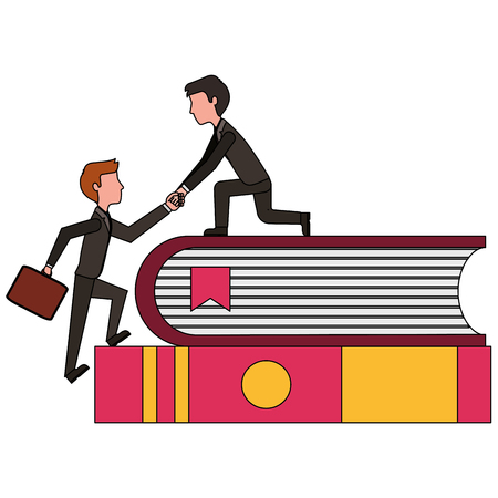 people climbing steps with books education vector illustration Illustration