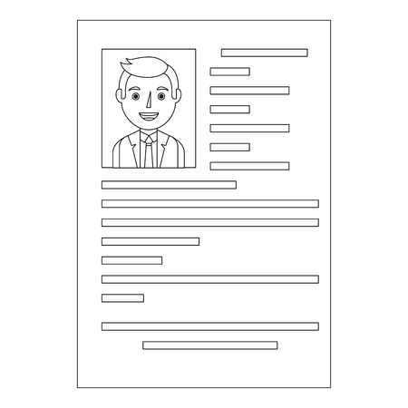 curriculum vitae with photo of man isolated icon vector illustration design