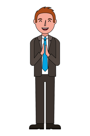 standing man character in formal clothes vector illustration
