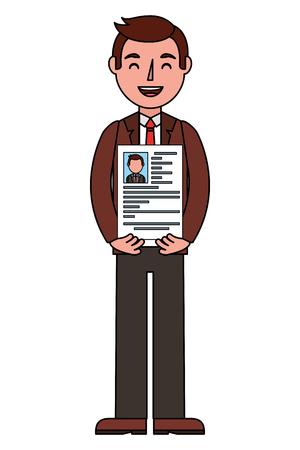 man character holding her resume for work vector illustration