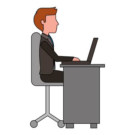 young man working in workplace desk and computer vector illustration