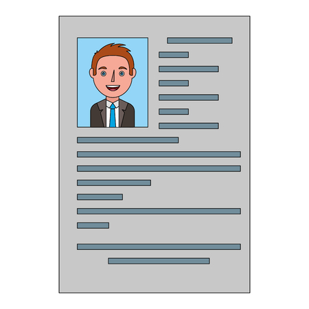 male resume document employment occupation vector illustration Фото со стока - 101043855
