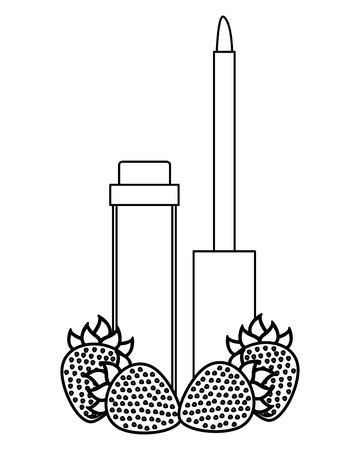 eyeliner with strawberry female make up vector illustration design