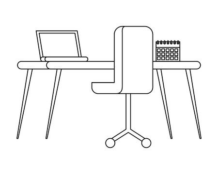workplace with chair and desk isolated icon vector illustration design 向量圖像