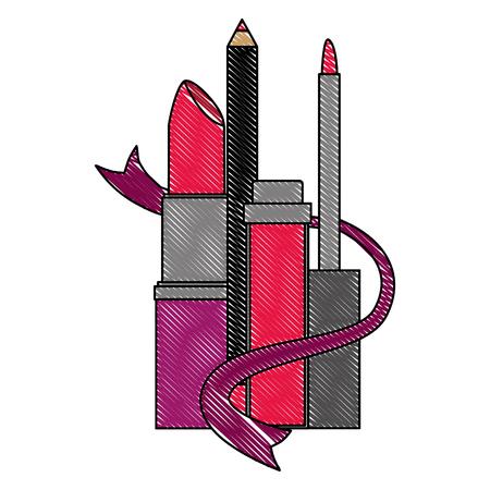 makeup eyeliner mascara and lipstick vector illustration drawing