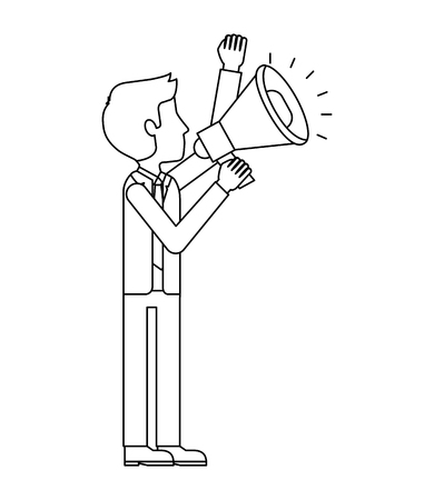 elegant businessman with megaphone avatar character vector illustration design