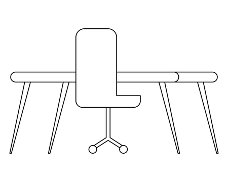 office chair with desk isolated icon vector illustration design