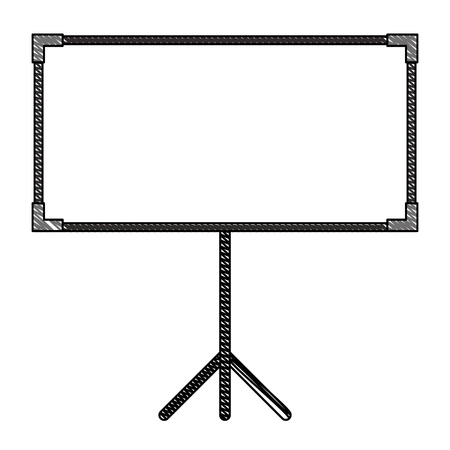 blank projector screen with tripod vector illustration drawing Illustration