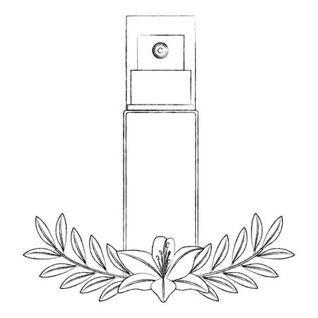Bottle of splash with flower female make up vector illustration design.