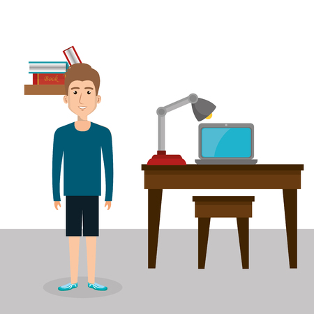 Young man in the office character scene vector illustration design