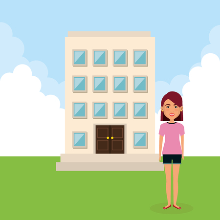 Young woman with building character scene vector illustration design
