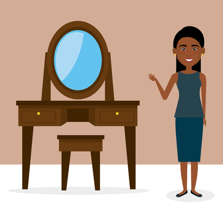 Young woman with dressing table character scene vector illustration design