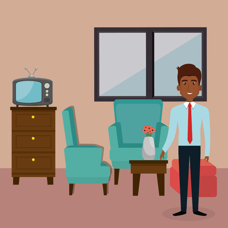 Young man in the living room character scene vector illustration design
