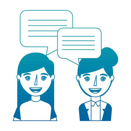 Women with dialogue speech bubbles vector illustration neon design