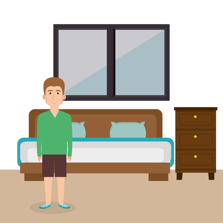 Young man in the bed room character scene vector illustration design Ilustração