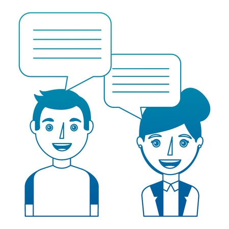 Woman and man with dialog speech bubbles vector illustration neon design