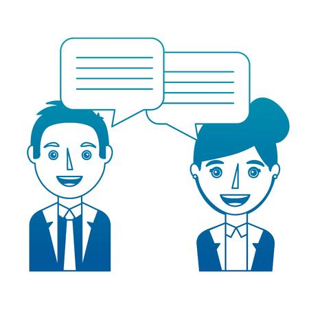 Donna e uomo con dialogo illustrazione vettoriale di bolle di discorso illustrazione di design Archivio Fotografico - 101000681