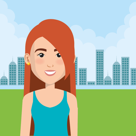 Young woman in the field character scene vector illustration design