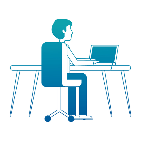 young man working in workplace desk and computer vector illustration neon design