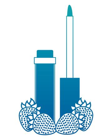 Gloss lipstick cosmetic makeup product vector illustration neon design
