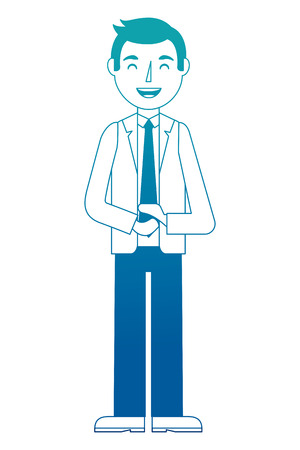 Standing man character in formal clothes vector illustration neon design Illustration