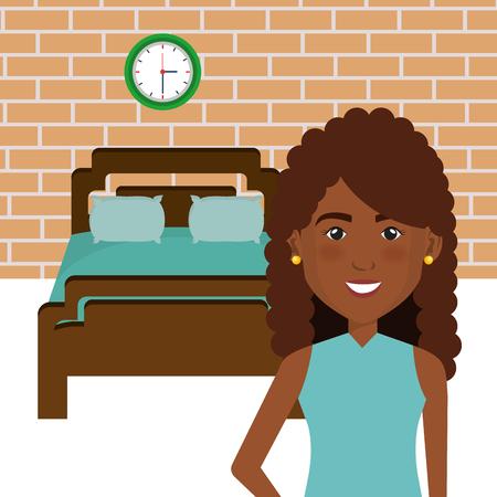 Donna nera nel letto letto illustrazione vettoriale scena illustrazione Archivio Fotografico - 101000746