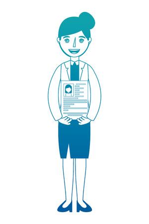 Woman holding her resume for work vector illustration neon design Ilustração