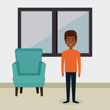 Young man in the living room character scene vector illustration design Stockfoto - 101000978