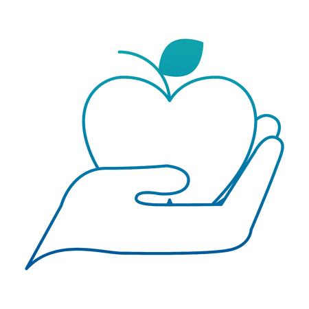 Hand holding apple fresh fruit vector illustration neon design
