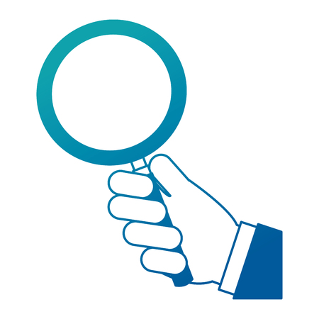 Hand holding magnifying glass finding vector illustration neon design